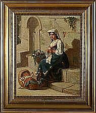 David Jacobsen: Young Italian mother knitting near