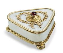 Johan Victor Aarne: A Russian Fabergé silver-gilt and guilloché enamel bell push. Assayer Jacob Liapunov, scratched inventory no. 4784. H. 3 cm. W. 5.9 cm.