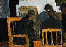 Ebba Carstensen: Interior with figures, 1964.