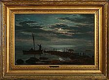 Anton Dorph: Seascape at fullmoon. Signed A.