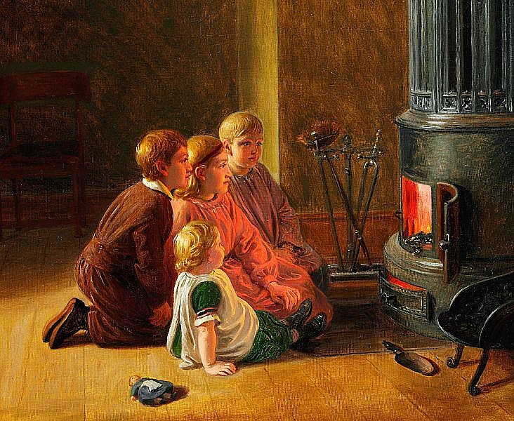 Constantin Hansen: Children watching the fire in the furnace.