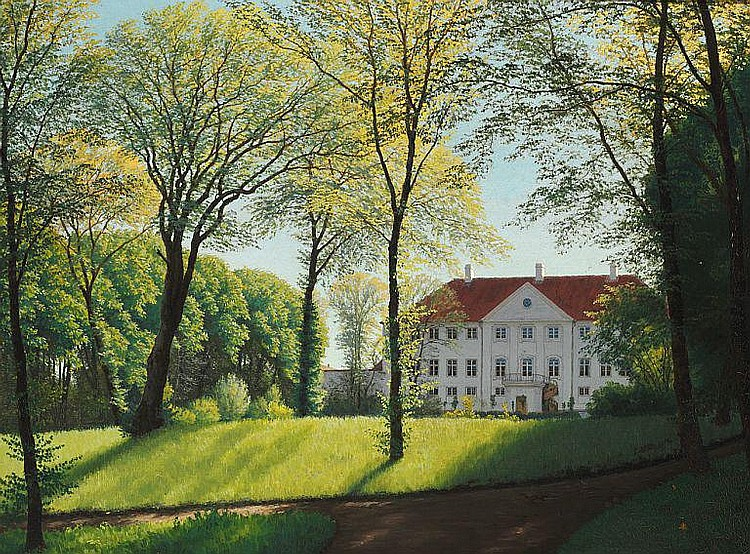 Niels Skovgaard: Summer day in the park at the manor Nysø.