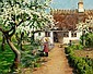 H. A. Brendekilde: Two little girls in the garden with a kitten under a fruit tree in bloom., H A Brendekilde, Click for value