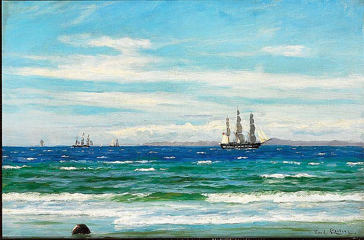 Carl Locher: A frigate off Kullen.