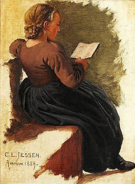 Carl Ludvig Jessen: Girl reading.