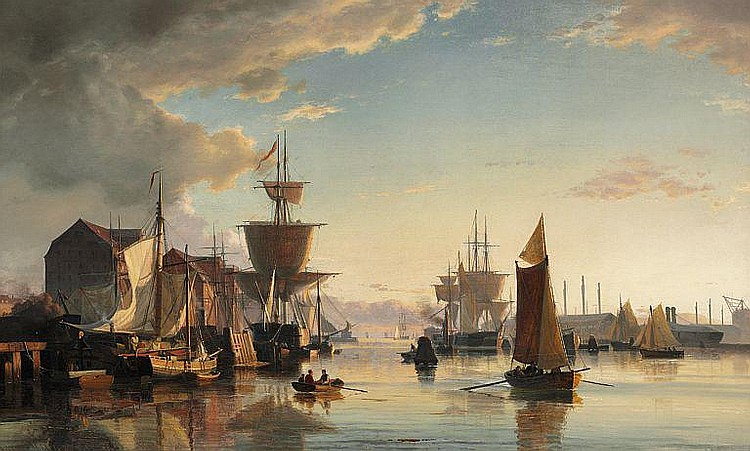 Viggo Fauerholdt: Early morning in the Harbour of Copenhagen.