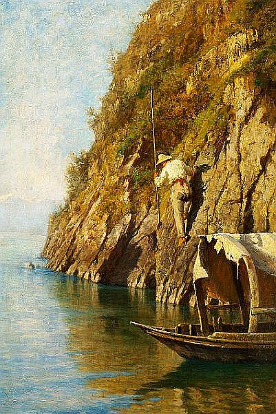 Felix Possart: A fisherman on a steep rock looking for a prey.