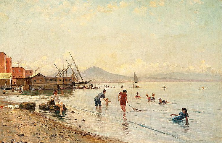 Holger H. Jerichau: Women and children on the beach of Portici at the foot of Mount Vesuvius in the Bay of Naples.