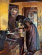 Anna Ancher: Interior from Skagen with Søren Bratten and his wife in the scullery., Anna Ancher, Click for value