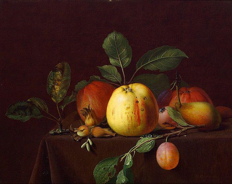 O. D. Ottesen: Fruit and nuts on a table.