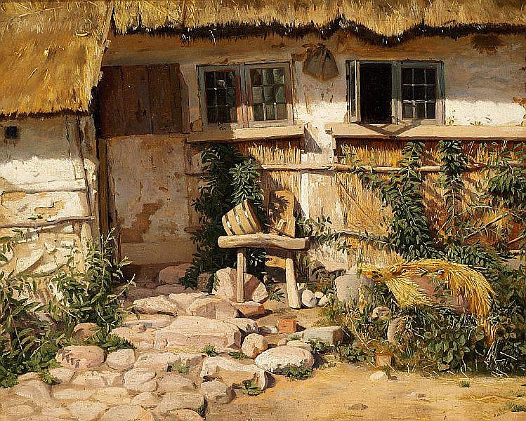 Frederik Vermehren: Outside a whitewashed house with a thatch roof.