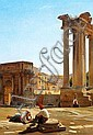 Constantin Hansen: View of the Roman Forum with the Temple of Concordia and the Arch of Septimius Severus seen from the foot of the Capitoline Hill.