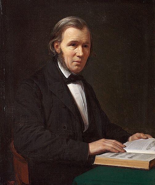 Wilhelm Bendz: Portrait of the historian Lauritz Schebye Vedel Simonsen.