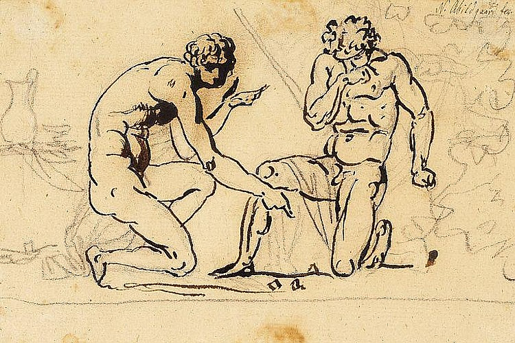 N. A. Abildgaard: Two Romans playing dice.