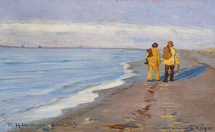 P. S. Krøyer: Evening atmosphere with two fishermen at Skagen Beach.