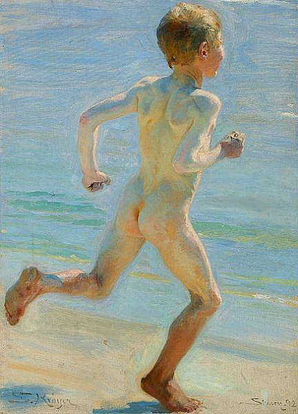 P. S. Krøyer: Naked boy running on the beach towards the sea.