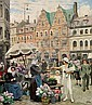 Paul Fischer: From Højbro Plads (Square). An elegant woman buys a large bunch of flowers., Paul Fischer, Click for value