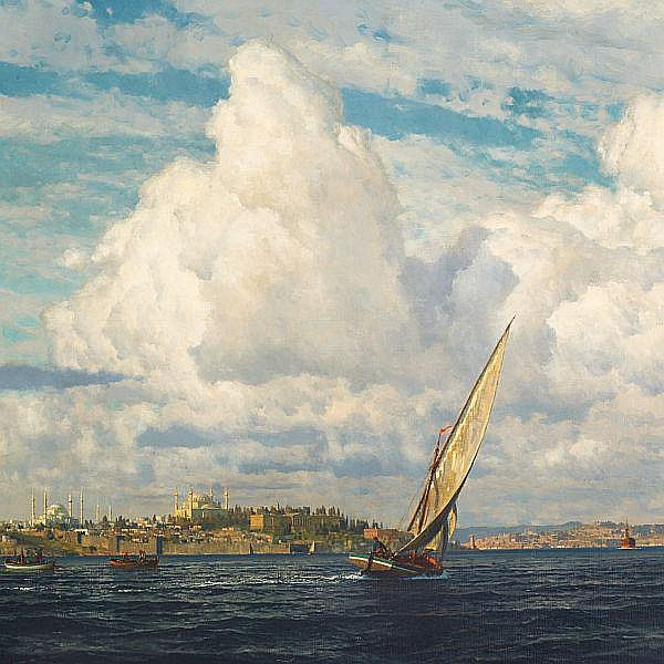Michael Zeno Diemer: View of the Bosporus Strait and Istanbul with Hagia Sophia and The Blue Mosque.