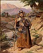 Jørgen Roed: An Italian monk hiking in the mountains., Jorgen Roed, Click for value