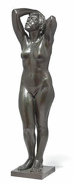 Eric Hedland: Standing young woman. Signed E. Hedland. Bronze. H. 127 cm.