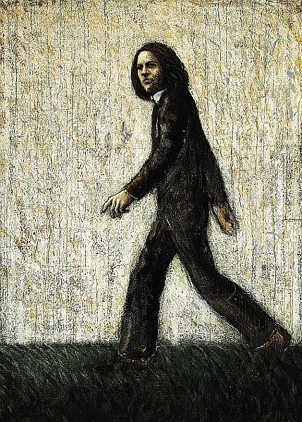 Kurt Trampedach: Walking man, 1973. Signed and dated on the reverse. Oil on canvas. 180 x 130 cm.