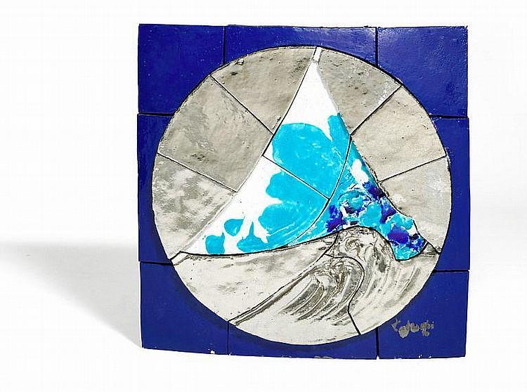 Yasse Tabuchi: Relief. Signed Tabuchi. Polychrome glaced tiles with platin. 102 x 102 x 12 cm.