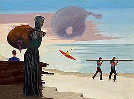 Vilhelm Bjerke-Petersen: Figures at the beach. Signed v.b.p. 36. Oil on canvas. 75 x 100 cm.