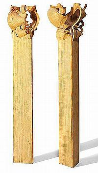 Peter Hentze: Two pillars of pine plywood. Unsigned. H. c. 250 cm. (2)