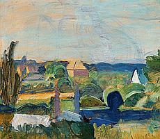 """Harald Giersing: """"Udsigt over Valdals Gartneri"""" (View of Valdal's Gardening), 1926. Unsigned. Oil on board. 63 x 72 cm."""