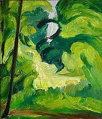 """Harald Giersing: """"Skovinteriør, Sorø"""" (Forest interior), 1916. Signed monogran. Oil on canvas. 75 x 64 cm."""