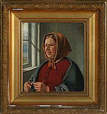 Jørgen Roed: Portrait of a young woman knitting