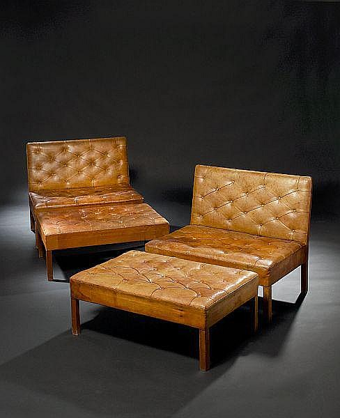 Kaare Klint: Two sectional sofa units and two footstools. Legs of Cuban mahogany. (4)