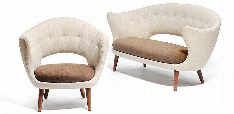 Finn Juhl: Freestanding two-seater sofa and an easy chair with teak legs. (2)
