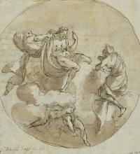 Italian school, 18th century: Jupiter in the clouds with a goddess. Unsigned. Pencil, drawing ink and brown wash on paper. Sheet size 204 x 187 mm.