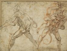 Italian school, c. 1600: Two demons carry off nymphs. Unsigned. Indistinctly inscribed. Drawing ink and red chalk on paper. Sheet size 158 x 215 mm.