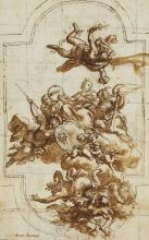 Pietro da Cortona, attributed to: Design for an allegorical ceiling composition. Drawing ink and brown wash over black chalk on paper. 522 x 325.