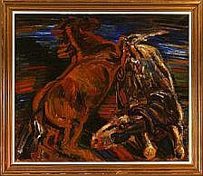 Axel Skjelborg: Compostion with horses. Signed A.