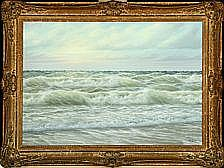 Wolmer Zier: Seascape. Signed W. Zier. Oil on