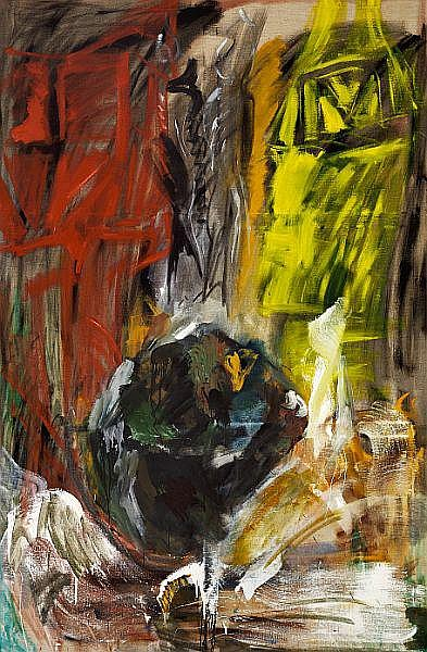 Per Kirkeby: Untitled, 1980. Unsigned. Oil on canvas. 200 x 130 cm.