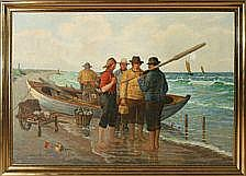 Albert Petersen: Fishermen on Skagen Beach. Signed