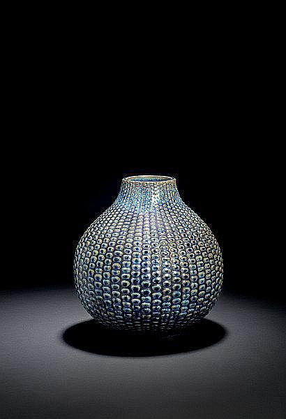 Axel Salto: Big stoneware vase modelled in budded style. H. 28 cm.