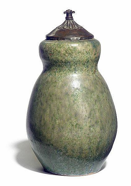 Patrick Nordström: Stoneware lid jar. Decorated with green glaze with blue elements. H. 27 cm.