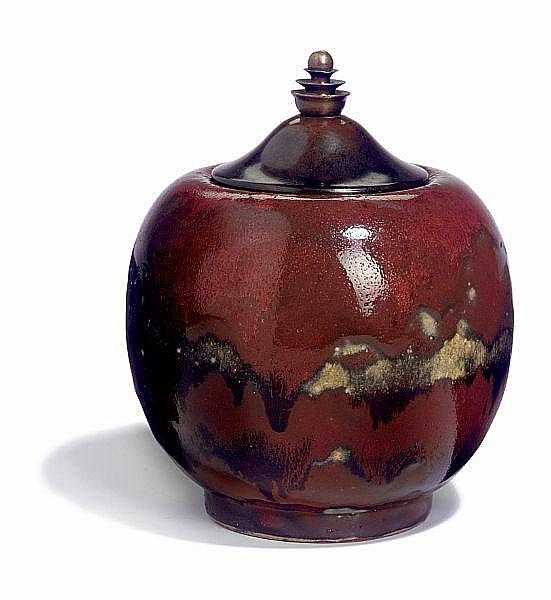 Patrick Nordström: Lid vase of stoneware. Decorated with oxblood glaze. Lid of bronze. Total H. 17 cm.