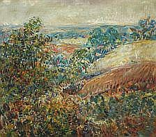 William Erle: Landscape with hills. Signed Erle.