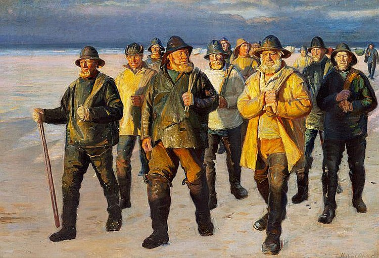 Michael Ancher: Fishermen homeward bound from the beach. Evening sun.