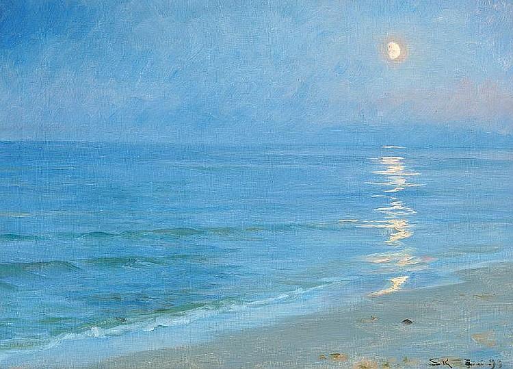 P. S. Krøyer: A moonlit Skagen beach.