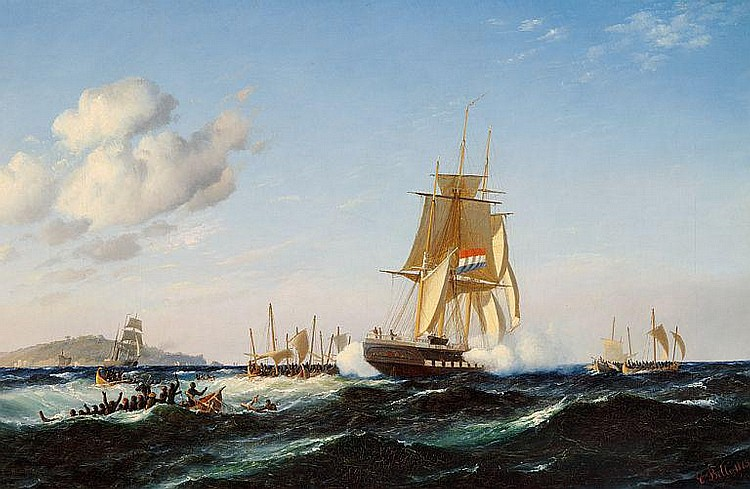 Carl Bille: Seascape with a Dutch brig being attacked.