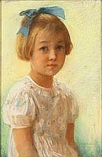 Gudmund Hentze: Portrait of a young girl with blue