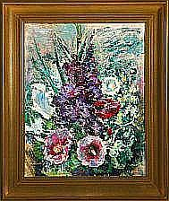 William Stuhr: Still life with flowers. Signed W.