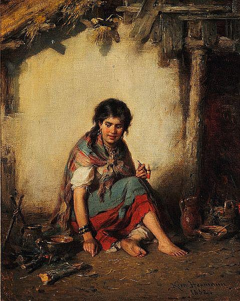 Hermann Kern: Young gypsy playing the flute and young gypsy girl smoking a pipe.
